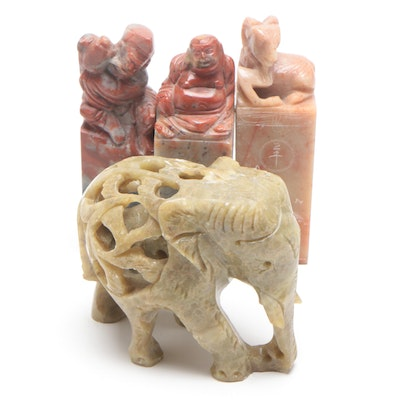 Carved Soapstone Chinese Seals and Elephant Figurine