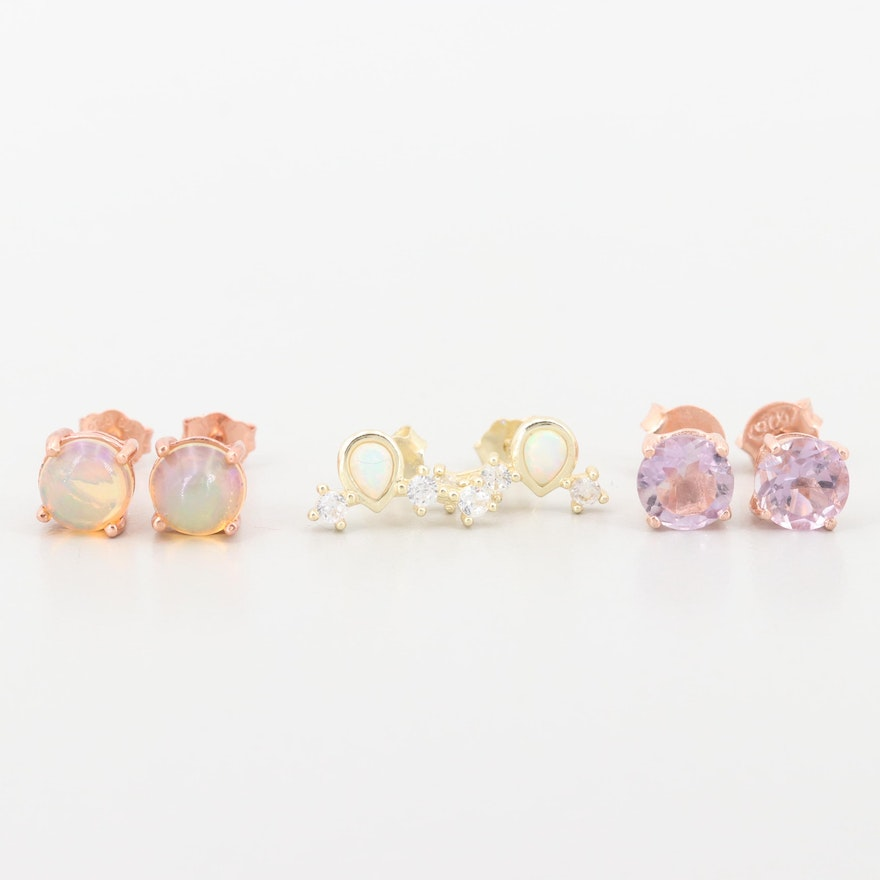 Sterling Amethyst, Opal, Synthetic Opal, Cubic Zirconia Earrings with Gold  Wash