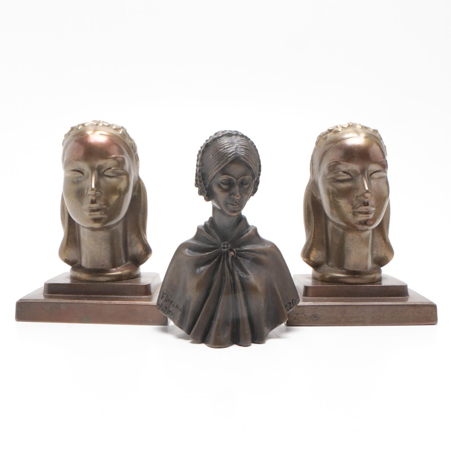 "Frankart Bronze Bust Bookends with Jerome L. Cox ""Florence Nightingale"" Bust"