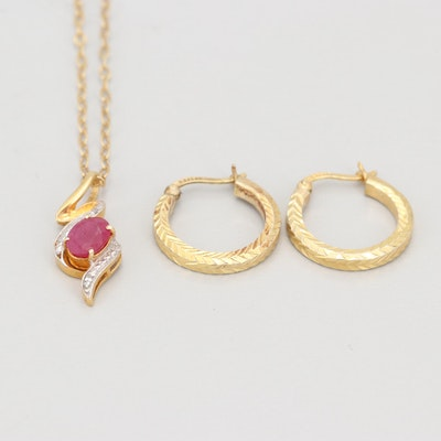 Gold Wash on Sterling Silver Synthetic Ruby and Diamond Necklace and Earrings