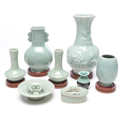 Chinese and Thai Celadon Ceramic Vases, Trinket Box and More