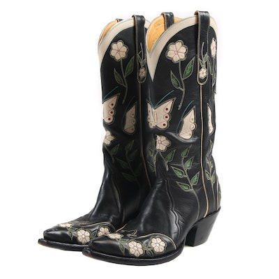 Custom Made Back At The Ranch Santa Fe Cowboy Boots with Butterflies and Florals