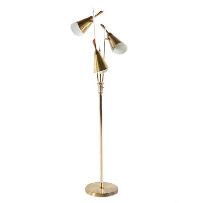 Mid-Century Modern Brass and Teak Floor Lamp