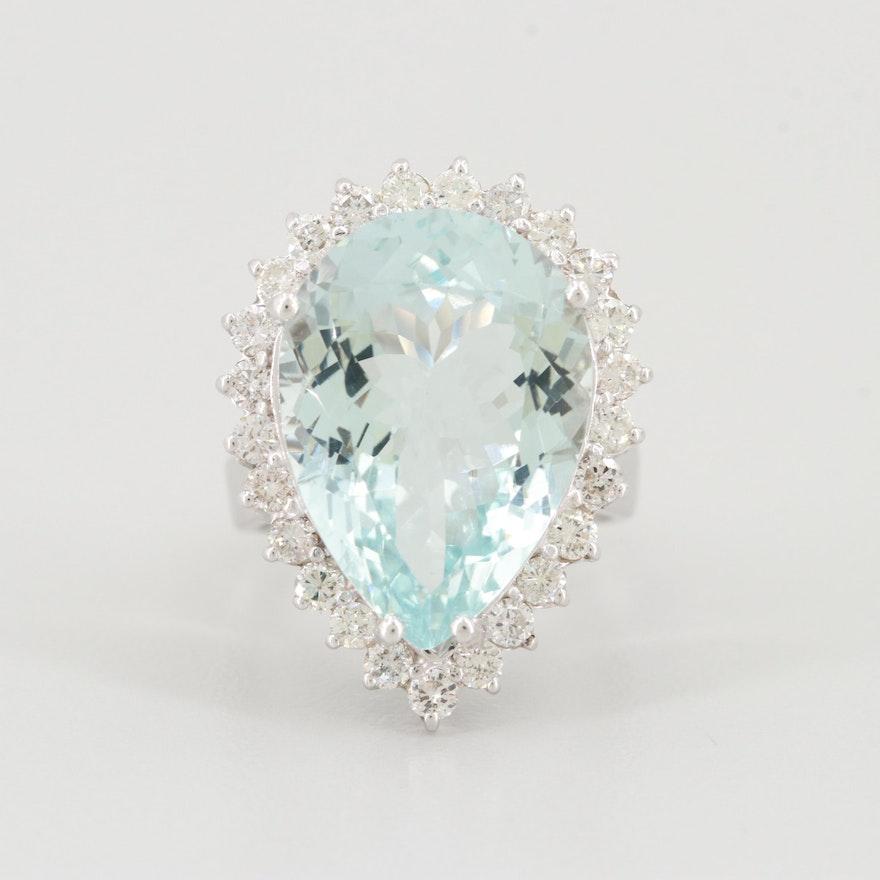 14K White 10.24 CT Aquamarine and 1.00 CT Diamond Gemstone Ring