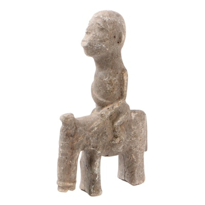 West African Stone Equestrian Figure