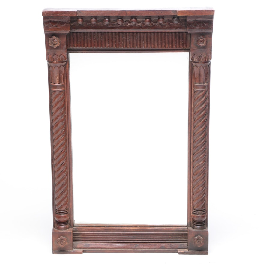 Federal Style Split Baluster Hardwood Wall Mirror, Vintage