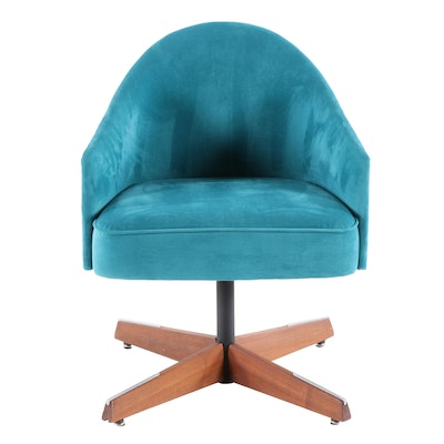 Mid Century Modern Teal Suede-Upholstered Walnut and Steel Swivel Arm Chair
