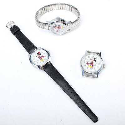 1978 Bradley Time Division Mickey Mouse Wristwatches