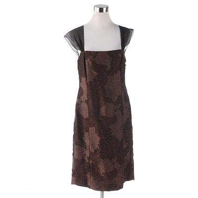 Worth New York Brown Floral Jacquard Sheath Dress
