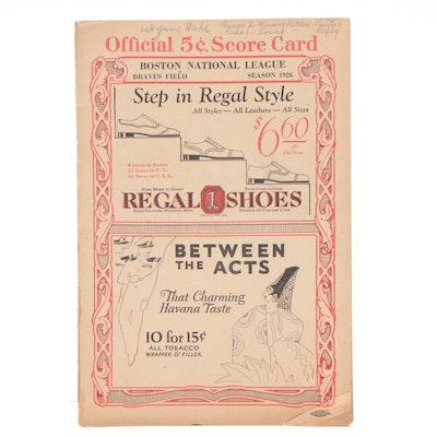1926 Cincinnati Reds vs. Boston Braves Baseball Scorecard with Roush and Bessler