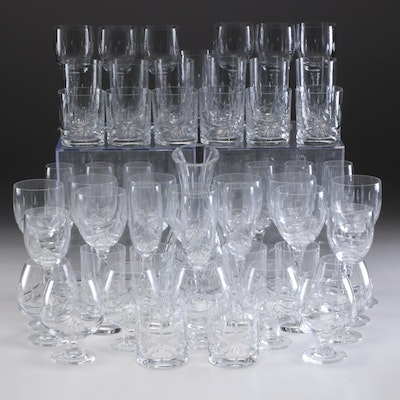 Towle Cut Crystal Wine Glasses, Snifters, Flutes and Decanter and Other Stemware