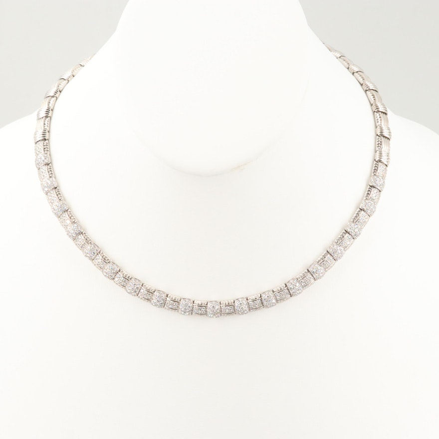 Roberto Coin 18K White Gold 3.26 CTW Diamond and Ruby Texture Necklace