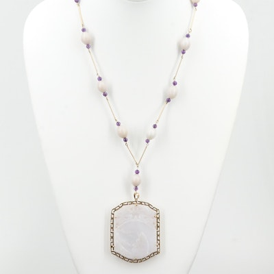 Vintage Chinese 14K Yellow Gold Jadeite and Amethyst Beaded Pendant Necklace