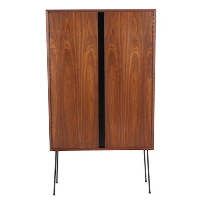 Mid Century Modern Walnut and Steel Leg Bar Cabinet