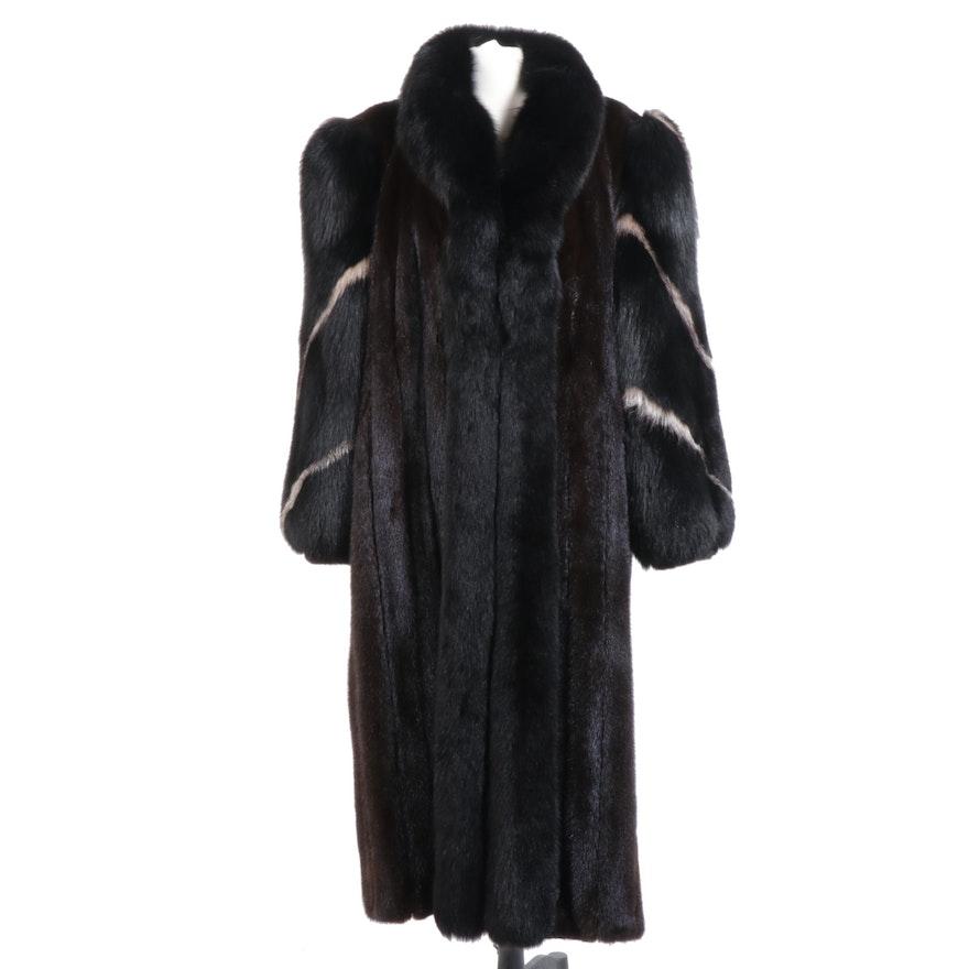 Mahogany Mink and Dyed Fox Fur Full-Length Coat with Tuxedo Collar