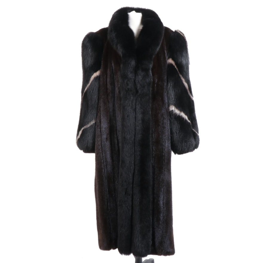 Mahogany Mink and Dyed Fox Fur Full-Length Coat with Tuxedo Collar
