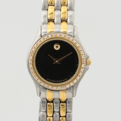 Movado 14K Yellow Gold and Stainless Steel Wristwatch With Diamond Bezel