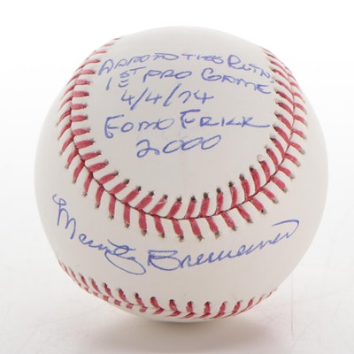 Marty Brenneman Signed and Inscribed Rawlings Major League Baseball, JSA COA