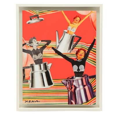 "Mary Beth Acosta Lithograph Collage on Glass ""Perk-O-Laters"""