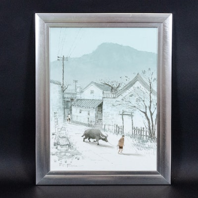 Oil Painting of Winter Landscape with Figure and Bull