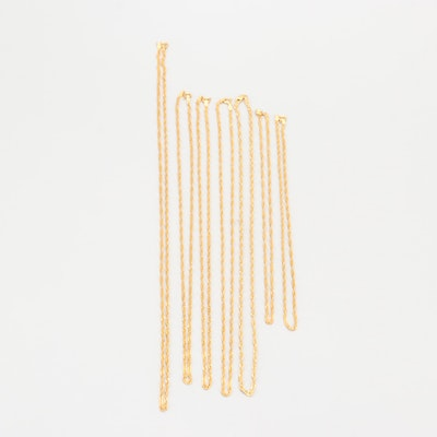 Gold Wash on Sterling Silver Twisted Curb Chain Necklaces