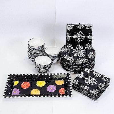 Roscher & Co. Ceramic Dinnerware with Black Zinnia Serving Tray