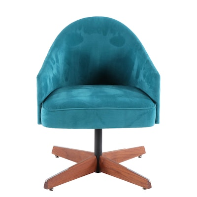 Mid Century Modern Teal Suede-Upholstered, Steel and Walnut Swivel Armchair