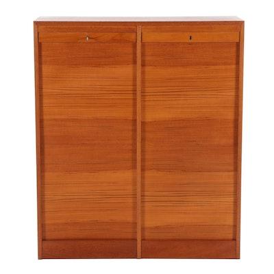 Danish Modern Teak Tambour File Cabinet