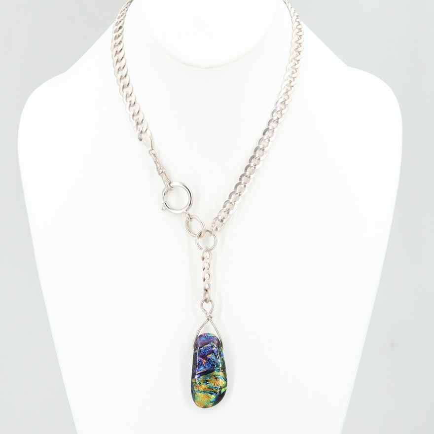Sterling Silver Dichroic Glass Curb Link Watch Chain