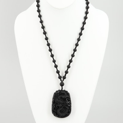 Chinese Carved Obsidian Dragon Beaded Necklace