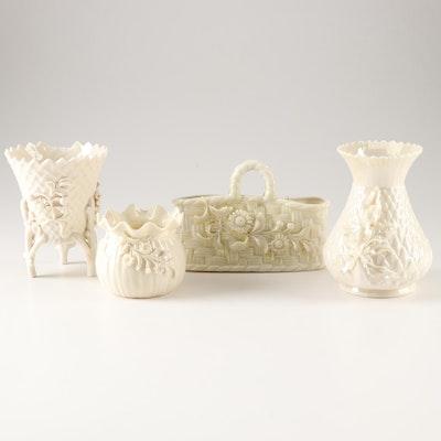Belleek Porcelain Floral Decorative Vases and Baskets