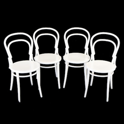 "Ton ""Chair 14"" White Painted Beech Bentwood Café Chairs"