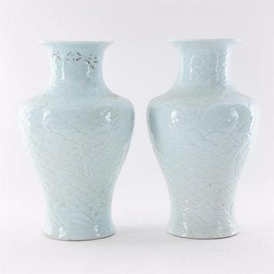 Chinese Dragon Motif Ceramic Vases