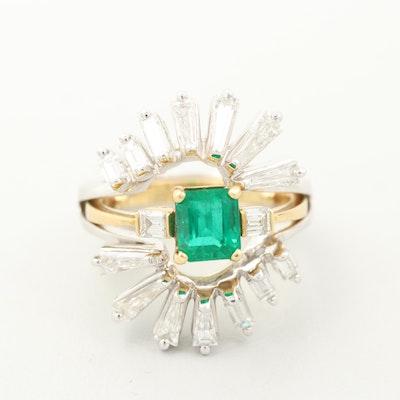 18K Gold 1.11 CT Emerald and Diamond Ring and 14K Gold 1.82 CTW Diamond Enhancer