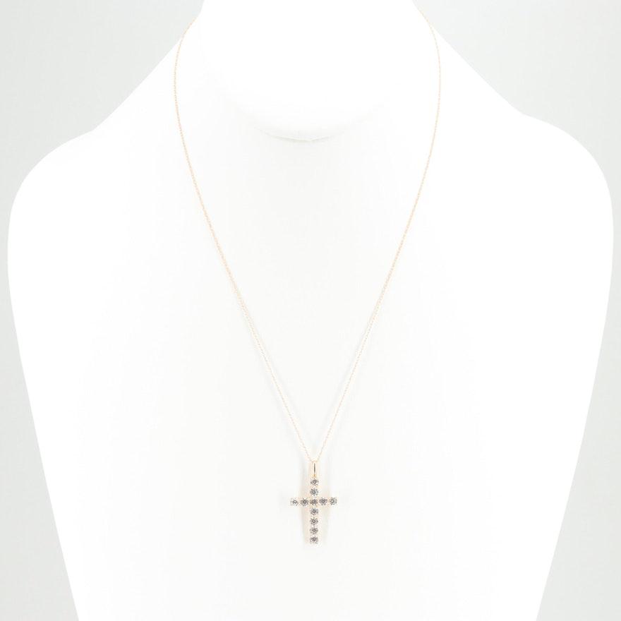 462569ee70d4da 10K Yellow Gold Cubic Zirconia Cross Pendant Necklace | EBTH