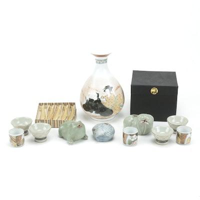 Japanese Porcelain Sake Bottle, Sake Cups and Chopstick Rests