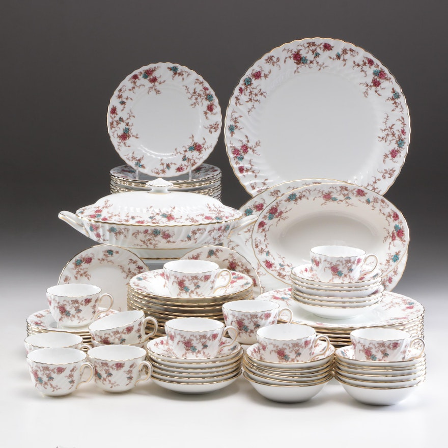 """Minton """"Ancestral"""" Bone China Dinnerware Service for Twelve with Serving Pieces"""