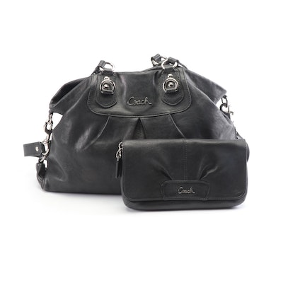 776716072ea Coach Ashley Caryall Black Leather Shoulder Bag With Matching Wristlet  Wallet