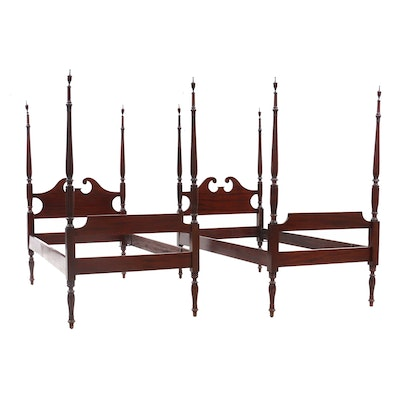 Pair of Antique Mahogany Twin Bed Frames