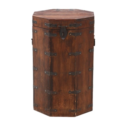 Korean Octagonal Walnut Hat Box Side Table