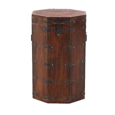 Korean Octagonal Walnut Hat Box Side Table