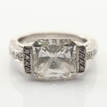 Platinum Custom Made 5.02 CT East-West Set Diamond Ring