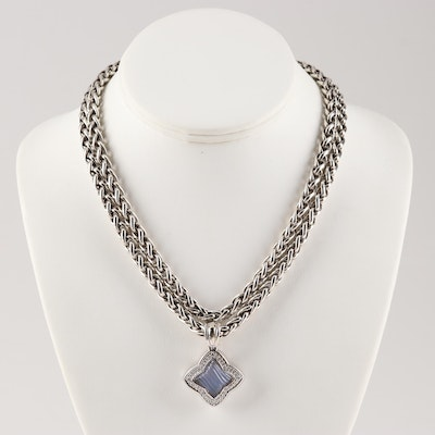 David Yurman Sterling Silver Double Strand Necklace with Diamond Enhancer