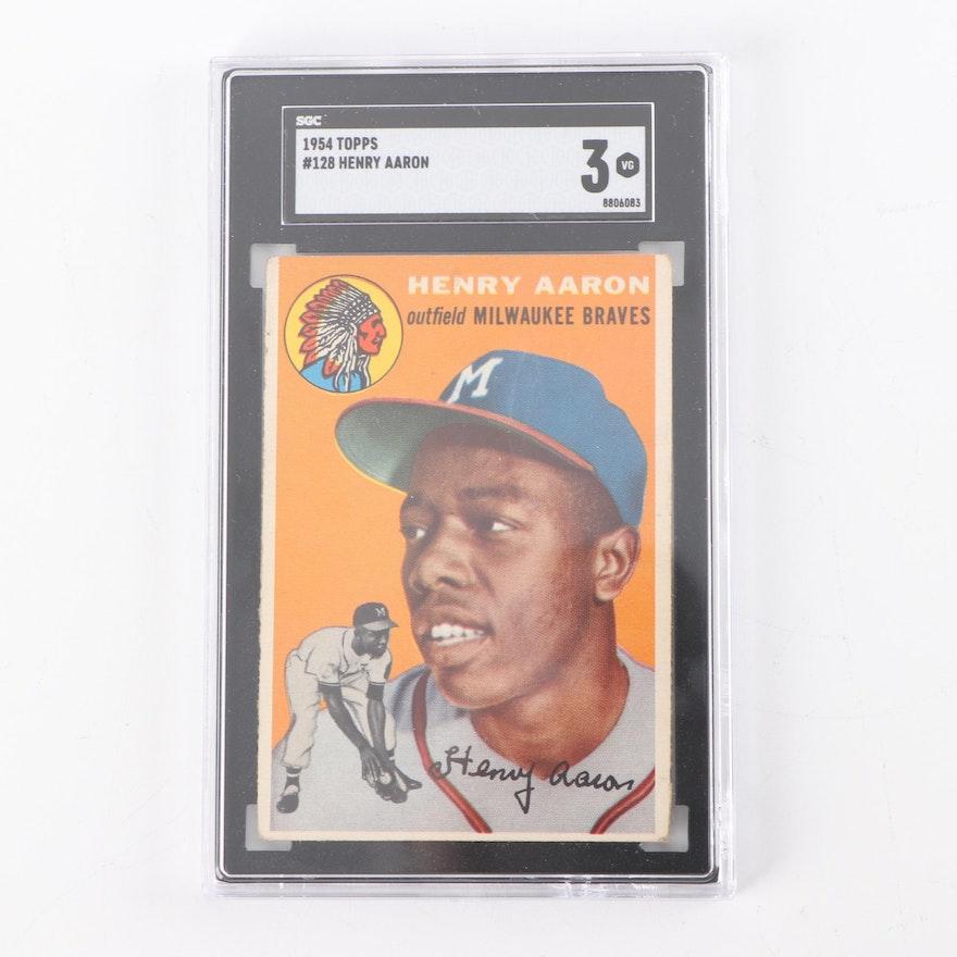 1954 Topps 128 Hank Aaron Rookie Card Scg Graded