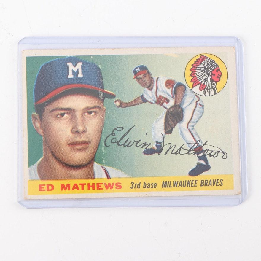 1956 Topps 155 Ed Mathews Baseball Card