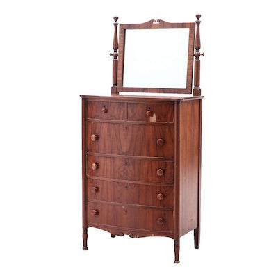 Woodard Walnut Veneered Chest of Drawers with Mirror