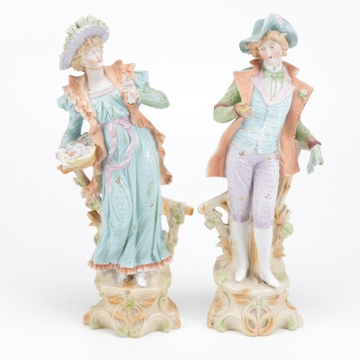 Hand-Painted French Bisque Statues, Early to Mid 20th Century
