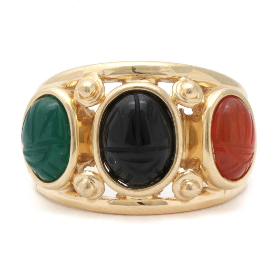 14K Yellow Gold Carved Scarab Multi-Gemstone Ring
