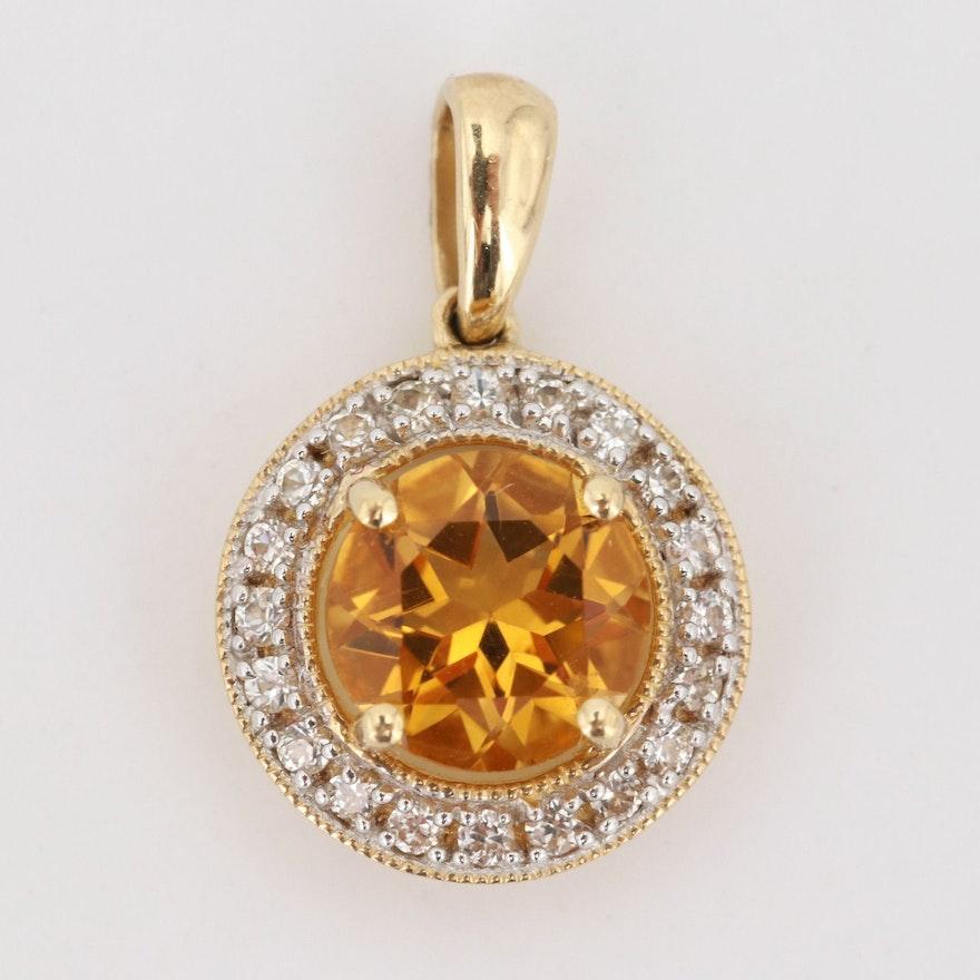 10K Yellow Gold 1.25 CT Citrine and White Sapphire Pendant