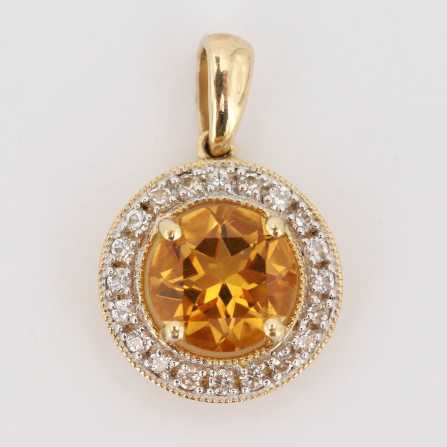 10K Yellow Gold 1.25 CT Citrine and White Sapphire Pendant